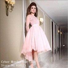 Sexy Durchsichtig Long Sleeve High Low Prom Kleider Elegante Wulstige Spitze Appliques Hellrosa Party Kleid Formal Arabisch Kleider
