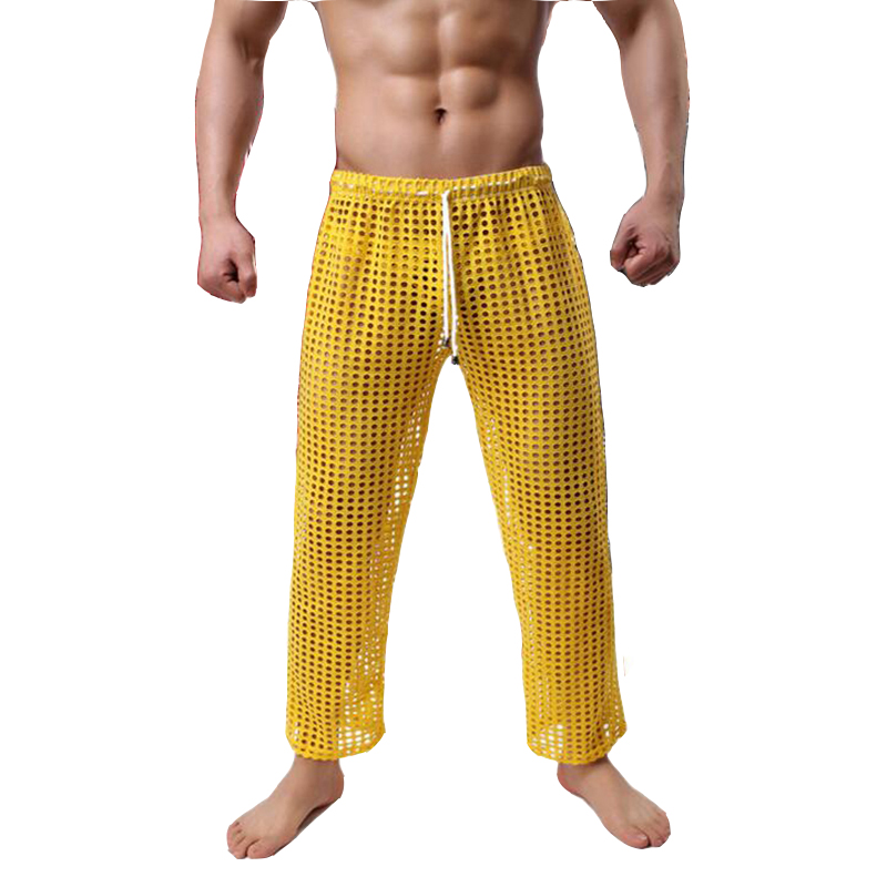 Men's Pajamas See Through Pajama Pants Casual Lounge Wear Pijama Hombre Hollow Out Sexy Ropa Interior Hombre Home Pants Clothes