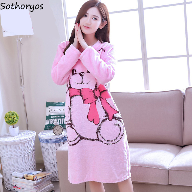 08a217c576 Nightgowns Women Kawaii Thicker Warm Soft Cartoon Long Sleeve O-Neck Womens  Sleepwear Simple Daily Homewear Korean Style Ladies