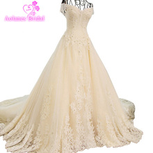 Luxury Wedding Gowns 2017 Lace Up Back Strapless  A Line Rhinestone Bead Dress Long Cathedral Train Real Photos