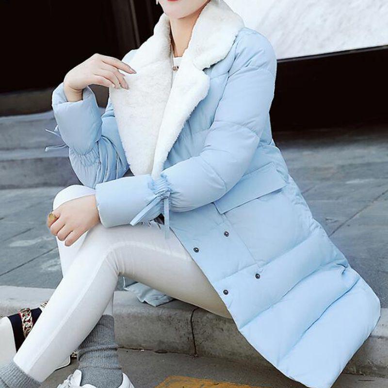 Sciolti Grande Cotone Nzyd543 Blue lungo Inverno Collare yellow pink Stile Cappotto 2018 Mid Risvolto Caldo Femminile Nuovo Casual army Greem Di Formato Giacca Black Donne light gray Del Modo Y67gvbfy