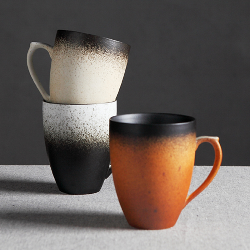 High Quality Vintage Coffee Tea Mug Handmade Ceramic Porcelain Drinking Cup Classic Retro Gradient Mug for Milk Coffee Drinkware