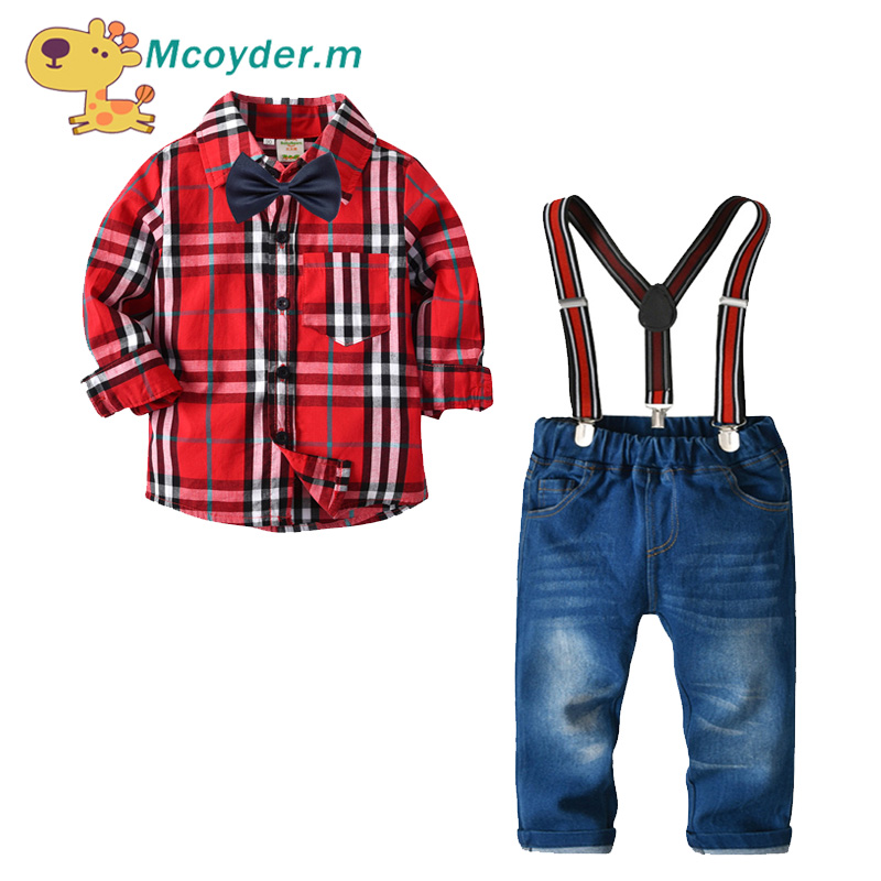 Gentleman Baby Boy Clothes Fashion Bow Tie Shirt +Pants 2PCS Boy Set Baby Boy Clothing Sets 2018 Autumn Spring Clothes
