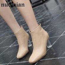 3975a0d0 7,5 cm tacones mujeres Faux Suede cuero zapatos de invierno mujer negro tobillo  Botas