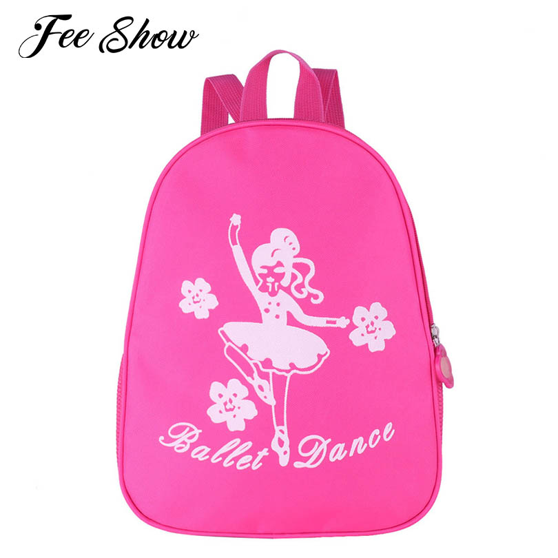Lovely Kids Girls Fashion Ballet Dance Bag Ballerina Ballet Gift Princess Cute Dancing Girl and Flower Print Ballet Bag Backpack