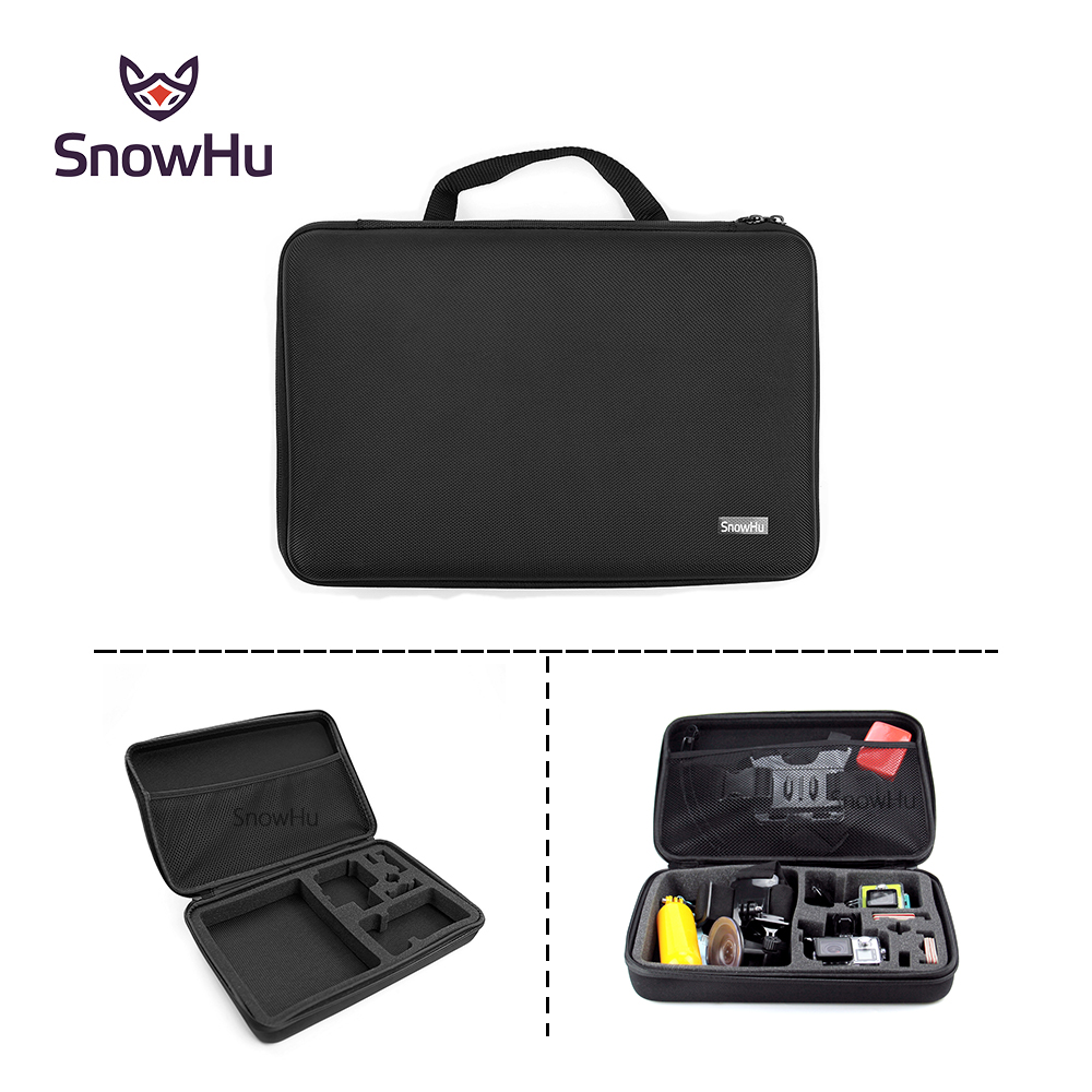SnowHu para Gopro Case resistente al agua EVA bolsa caja de almacenamiento para Go Pro Hero 7 6 5 4 3 3 + SJCAM SJ4000 xiaomi yi GP110