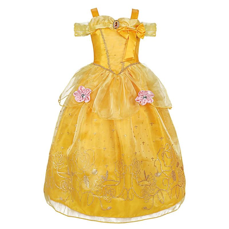 HTB1vK1rbyHrK1Rjy0Flq6AsaFXau Fancy Baby Girl Princess Clothes Kid Jasmine Rapunzel Aurora Belle Ariel Cosplay Costume Child Elsa Anna Elena Sofia Party Dress