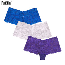 FUNCILAC Women Sexy Underwear Cotton Lace Transparent Hollow Lady Girl Boyshorts Solid Boxer Panties Comfortable 3Pcs/Lot M-2XL