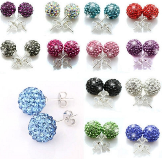 20pair/lot 10mm disco ball bead mixed white multicolor stainless steel Crystal Beads stud earrings silver plated l2424|Stud Earrings| - AliExpress