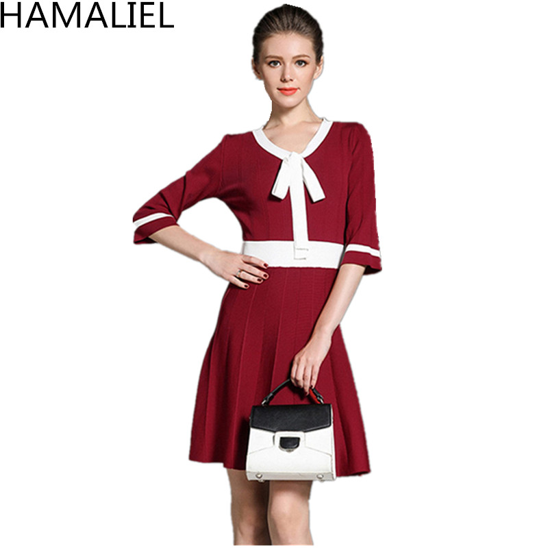 HAMALIEL Autumn Women Knitted Sweater Dress 2018 European Three Quarter Sleeve Patchwork V Neck Bow Casual Empire Pleated Dress stylish women s bow neck pleated pink dress