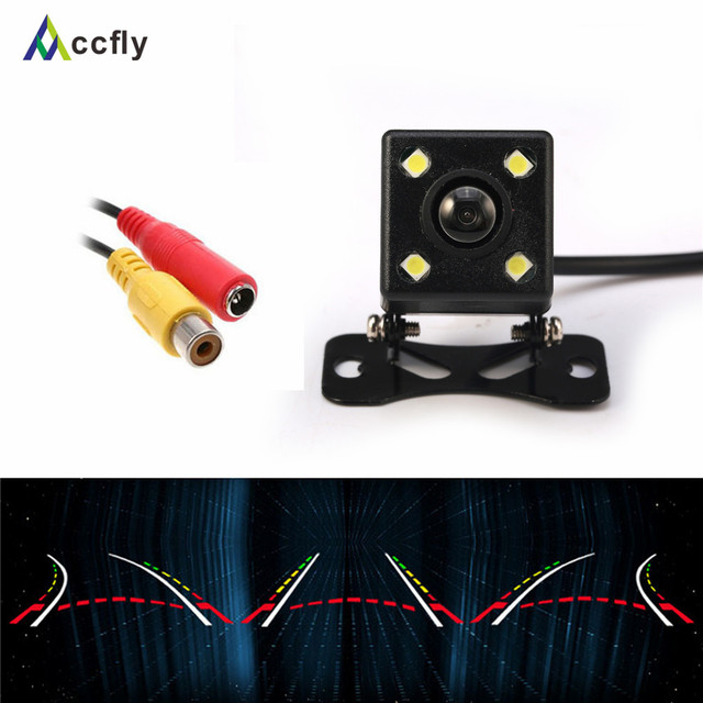 New intelligent reversing track 4 LED 170 Wide Angle HD camera night vision rearview car camera come with dynamic trajectory