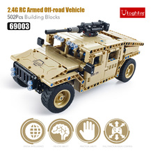 utoghter 457pcs 69003 24g rc armed off road vehicle building blocks kits diy toys bricks rc car model kids remote control car