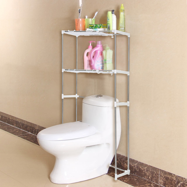 IKayaa US Stock Steel 2 Layer Metal Bathroom Space Saver Over Toilet Width  Extendable Bath Cabinet Storage Utility Shelf