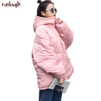 Fdfklak Korean Winter Jacket Women Hooded Long Cotton Coat Thicken Warm Womens Winter Jackets Padded Jacket