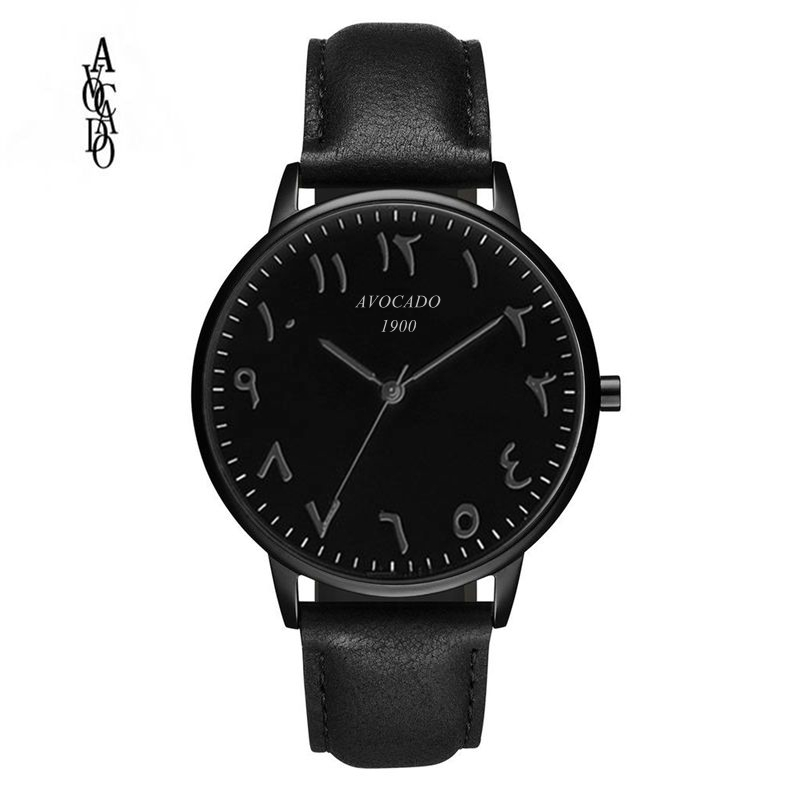 AVOCADO Hot 2018 New Arabic Men's Watch Luxury Brand Quartz Wristwatches Simple Fashion Black Leather Strap
