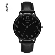 AVOCADO Hot 2018 New Arabic Mens Watch Luxury Brand Quartz Wristwatches Simple Fashion Black Leather Strap