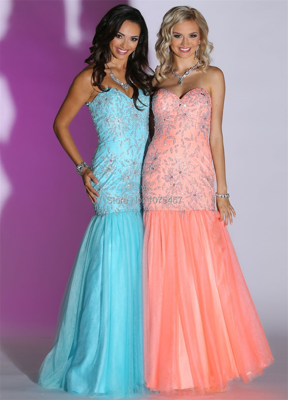 Coral Trumpet Style Prom Dresses 2015_Prom Dresses_dressesss