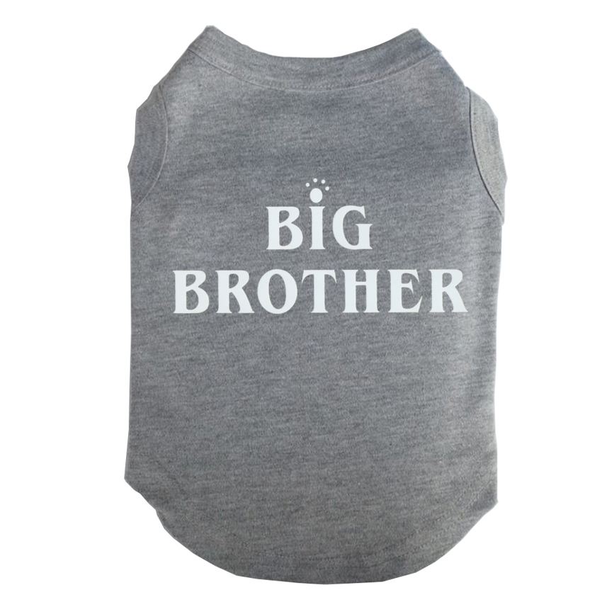 White Big BORTHER Printed T-Shirts Pet Puppy Clothes Shirts Tee Polyester Clothes Tank Tees Top for All Seasons Hot sale