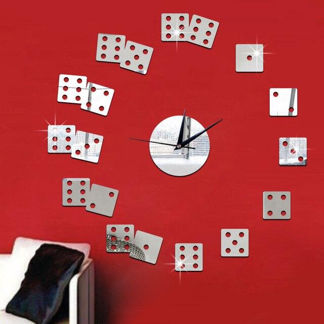 51a8926d06e Vreative Mirror Clock Dice Wall Sticker reloj de cocina 45x45cm Big Wall  Clock Designer Watch Wall Living Roon Bar Decorations