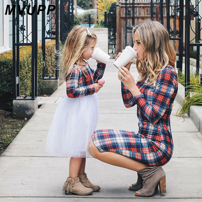 MVUPP Mother Daughter Dresses Fall 2019 Family Matching Outfits Mommy And Me Girls Long Sleeves Stripe Plaid Shirt Lady Clothes