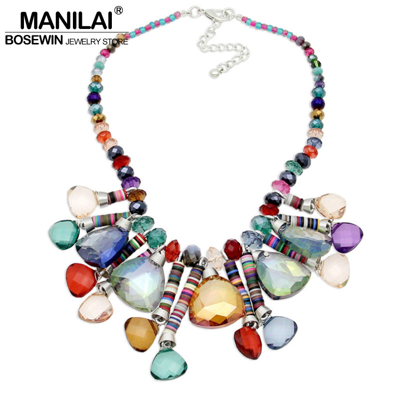 MANILAI Bohemia Crystal Necklaces Women 2016 Beaded Geometric Crystal Choker Necklace Handmade Statement Necklaces Pendants