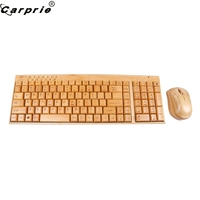 CARPRIE Handcrafted Bamboo Wooden Wireless Keyboard Mouse Set 2.4GHz Wireless Gaming Mouse Mice Combo 90523