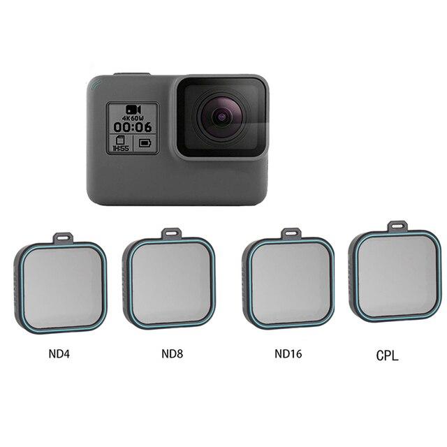Set de filtro de lente ND para Gopro Hero 5 Hero 6 Hero 7, Set de 4 unidades, Protector de Cámara de Acción (ND 4 8 16) + Kit de filtro CPL para Gopro
