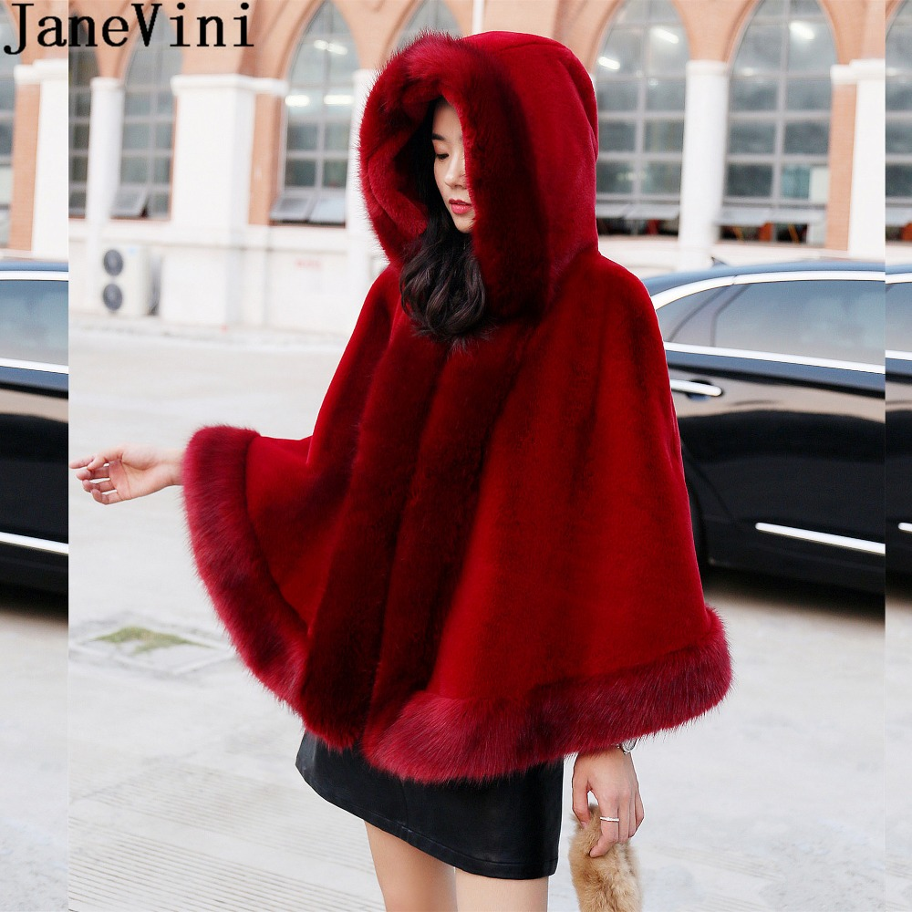 JaneVini Elegant Hooded Bridal Faux Fur Bolero Wedding Cape Cloak Women Warm Shawls And Wraps Winter Burgundy Coat For Wedding