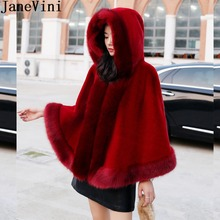 JaneVini Elegant Hooded Bridal Faux Fur Bolero Wedding Cape Cloak Women Warm Shawls and Wraps Winter Burgundy Coat for Wedding