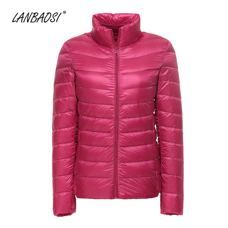 LANBAOSI Lightweight Down Jacket for Women Packable Thin Windproof Ultra Light White Duck Puffer Coat Female