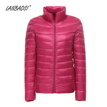 LANBAOSI Lightweight Down Jacket for Women Packable Thin Windproof Ultra Light White Duck Puffer Coat Female Outwear Clothing