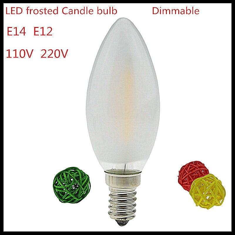 1X Новый 2 Вт 4 Вт 6 Вт E14 E12 110 В 220 В dimmable нити свечи матовый шарик польский заменить лампы накаливания энергосбережения