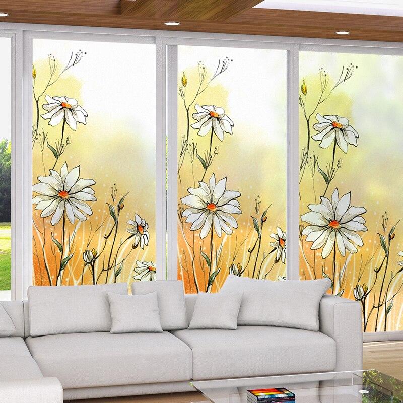 Taille personnalisée fenêtres verre Film porte autocollants mode autocollant statique s'accrochent intimité verre fenêtre Film pour salle de bains décor à la maison