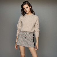 Women Beading Knitted Sweater Top