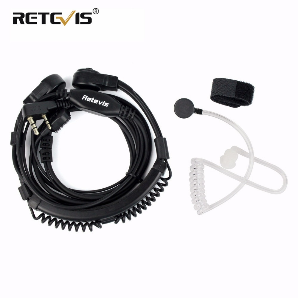 Retevis 2 Pin Retractable Throat Covert Acoustic Tube Earpiece for Retevis BF US