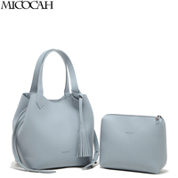 Micocah High Quality Women Handbag Luxury Solid 2 Sets Design Ladies Composite Bags Fashion Trunk Tote