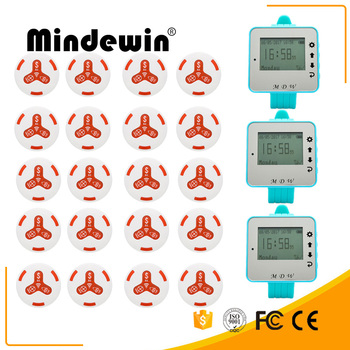 Mindewin 2017 New 20pcs Call Transmitter Button And 3 Watch Receiver Restaurant Pager Wireless Calling System Catering E