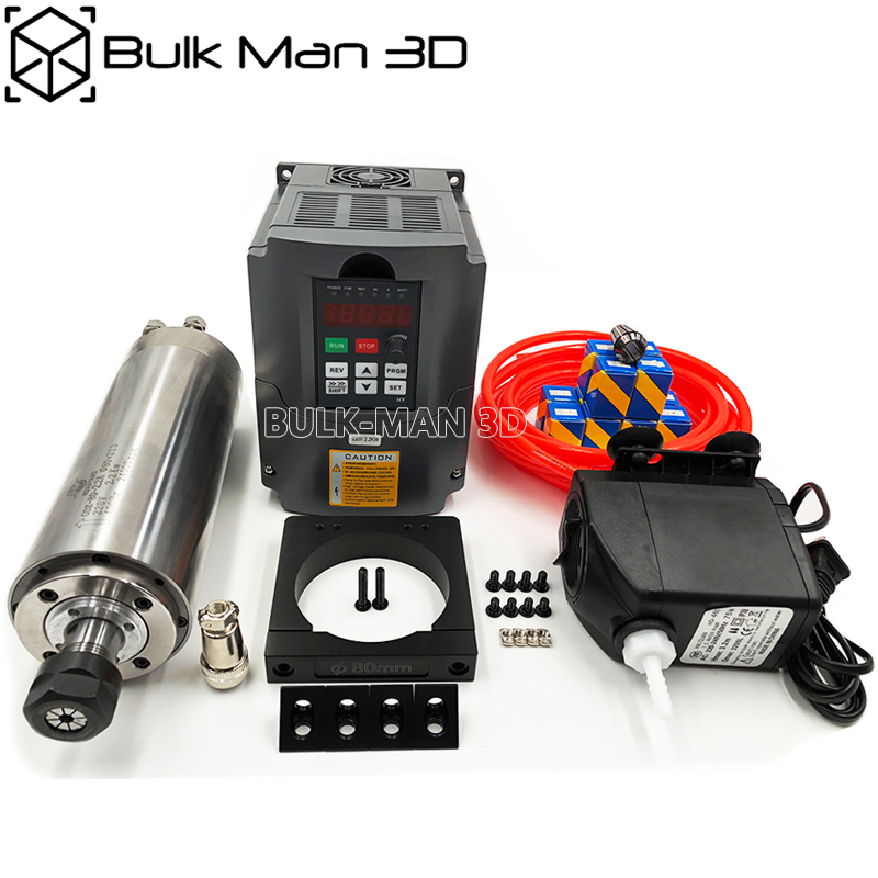 2 2kW Water Cooled Spindle Bundle VFD Inverter 80mm Spindle Mount Kit For WorkBee OX CNC