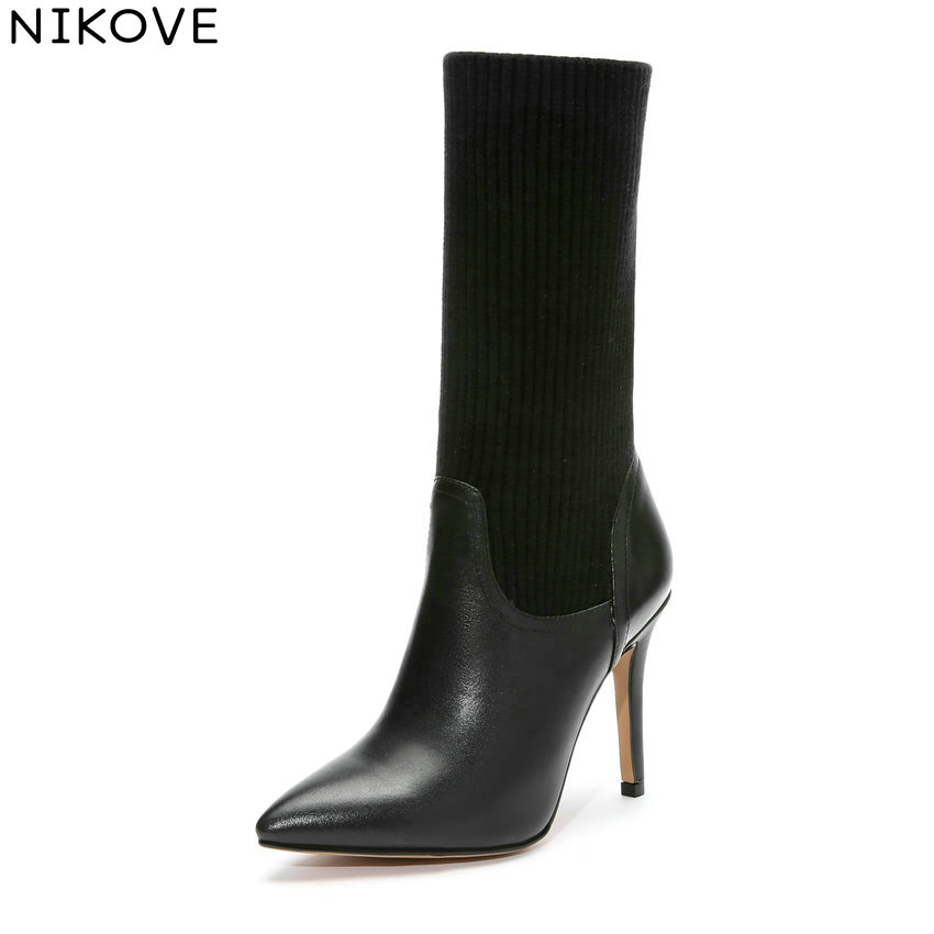 NIKOVE 2019 Women Boots Slip on Slim Look Mid-calf Boots Thin High Heels Winter Shoes Pointed Toe Solid Ladies Boots Size 34-42