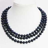 Classic natural black cultured freshwater pearl romantic trendy long chain necklace 8 9mm round beads jewelry 50inch B1474