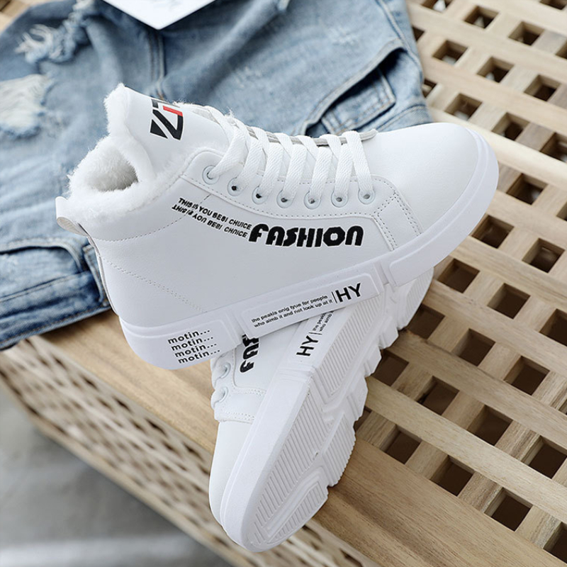 Winter Warm Fur High Top Sneakers Woman 2018 Fashion Women Shoes Lace-Up Casual Shoes Platform Winter Sneakers Pink White Black 2018 women shoes warm fur winter sneakers pink women casual shoes high top ladies sneakers winter platform shoes tenis feminino