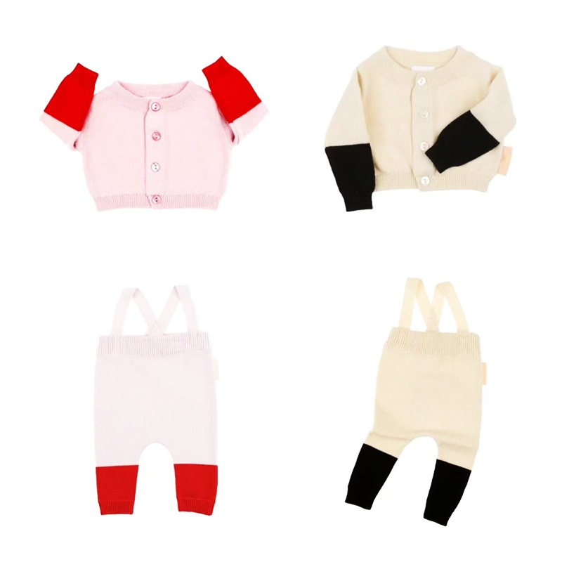 2017 Autumn Tiny Cotton Baby Girls Boys Clothes Sets Kids  Knitted Cardigan +Overalls Children New Fashion Clothing Set Suits malayu baby kids clothing sets baby boys girls cartoon elephant cotton set autumn children clothes child t shirt pants suit