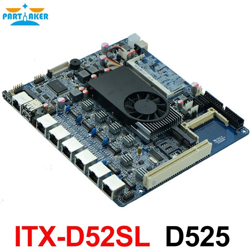 Pare-feu industriel intégré carte mère ITX-D52SL prend en charge Intel D525/1.8 GHz double processeur avec 6 * USB/2 * COM/1 * VGA/6 LAN