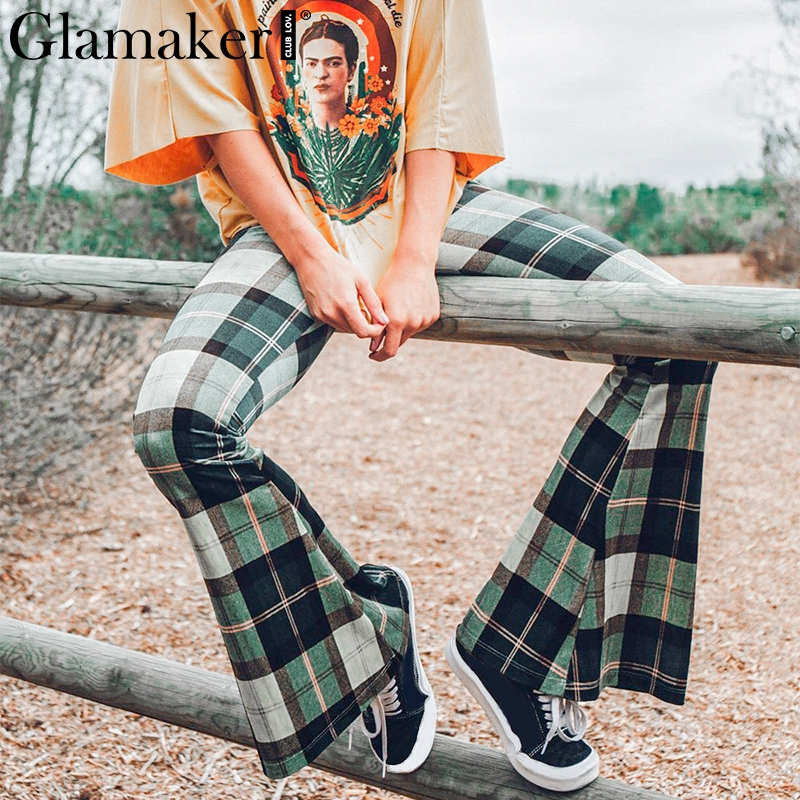 Glamaker Knitted plaid flare   pants     capris   Women bodycon casual   pants   bottoms spring elegant high waist party club trousers