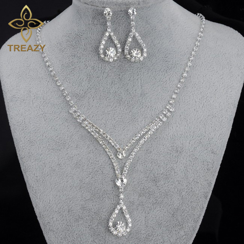 TREAZY Jewelry-Sets Bridal-Bridesmaid Wedding-African Necklace Earrings Crystal Women