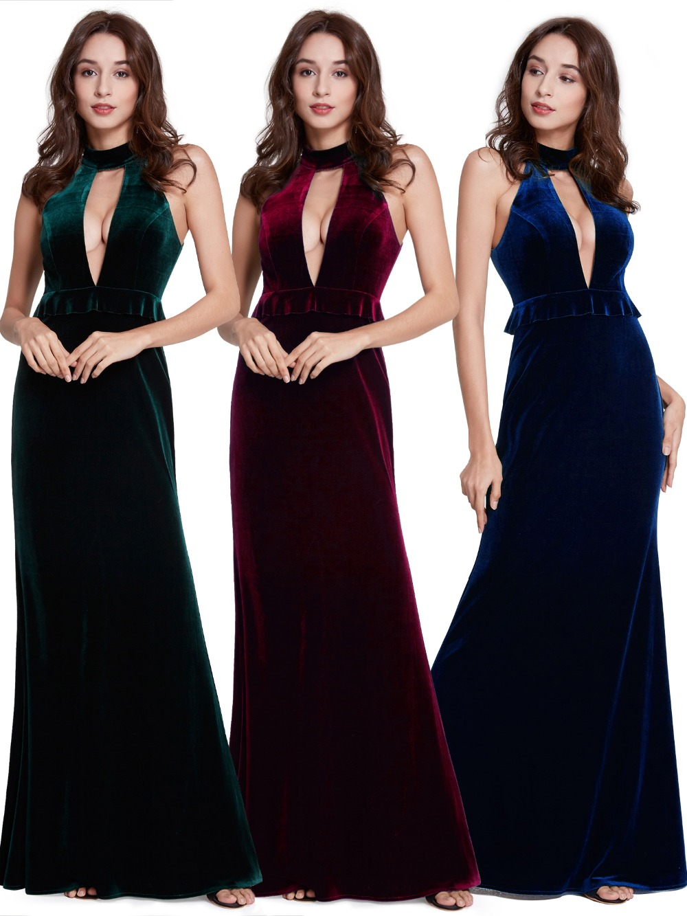 b48b05ea8feb 2019 New Year Sexy Velvet Long Evening Dresses Ever Pretty EP07180 Halter V  Neck Velour Christmas Evening Dresses Ruffles Gowns-in Evening Dresses from  ...