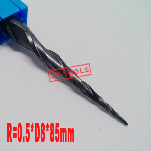 Free shipping-1PCS R0.5*D8*45*85L*2F HRC55 Tungsten solid carbide Coated Tapered Ball Nose End Mills taper and cone endmills hrc55 r0 2 r0 5 r0 75 r1 0 r0 72 ball end carbide milling cutter tungsten solid steel alloy taper endmill free shipping