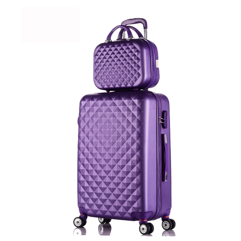 28+12Hot sales Diamond lines Trolley suitcase set/travell case luggage/Pull Rod trunk rolling spinner wheels/ ABS boarding bag