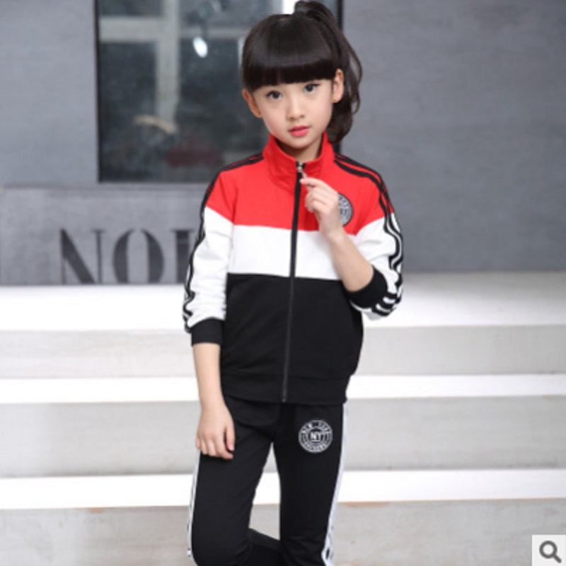 Boys and Girls Sport Clothing Set 2017 New Spring Autumn Children 's Kids Leisure Clothes Sets 2 Patchwork Colors Size6-14 ly473 2015 new autumn winter warm boys girls suit children s sets baby boys hooded clothing set girl kids sets sweatshirts and pant