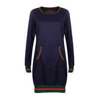 Women Sporting Dress With Pockets Spring Autumn Casual Cotton Long Sleeve Solid Bodycon Pencil Slim Fit